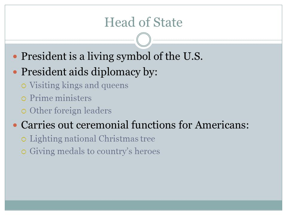Head of State President is a living symbol of the U.S.