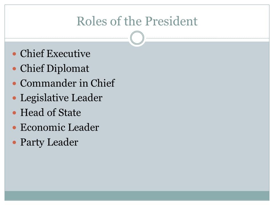 Roles of the President Chief Executive Chief Diplomat