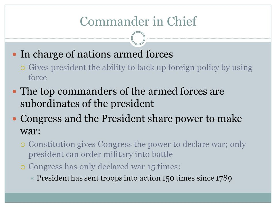 Commander in Chief In charge of nations armed forces