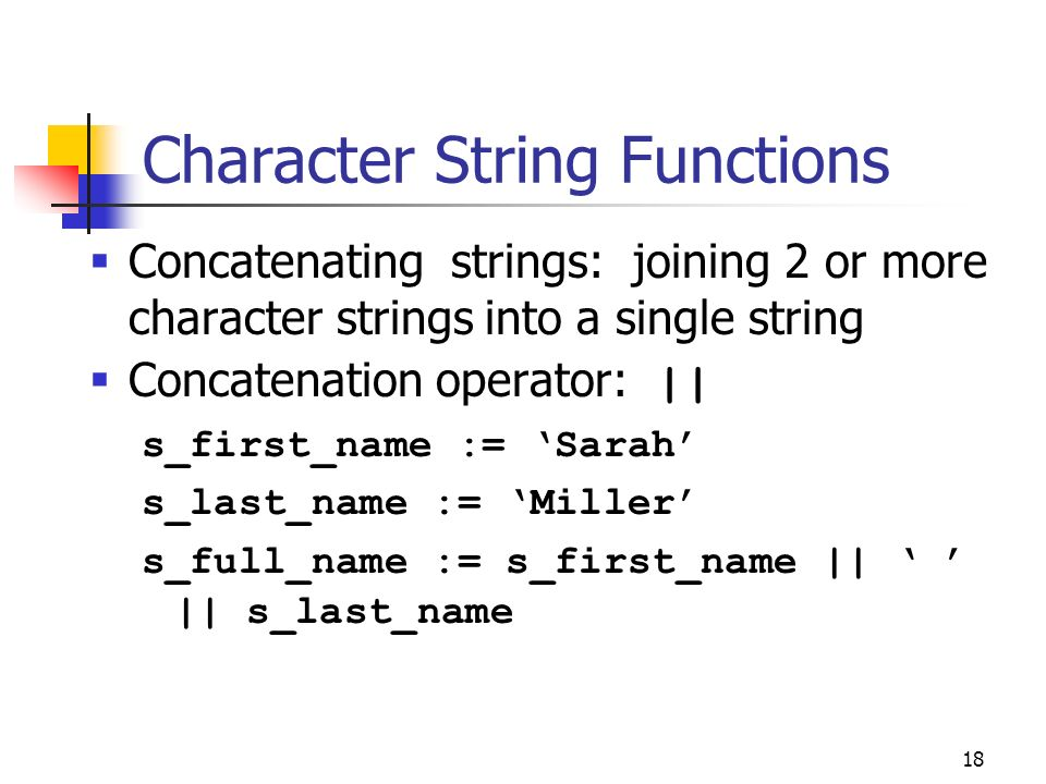 Character String Functions