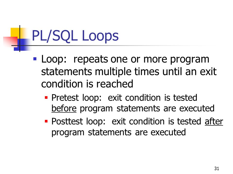 PL/SQL Loops Loop: repeats one or more program statements multiple times until an exit condition is reached.