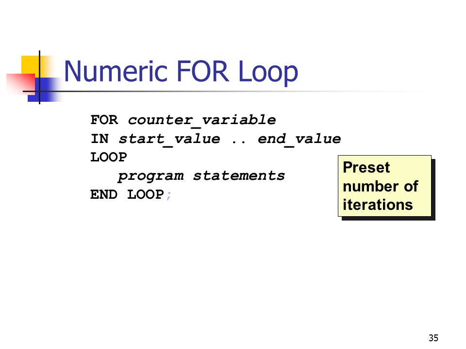 Numeric FOR Loop FOR counter_variable IN start_value .. end_value LOOP