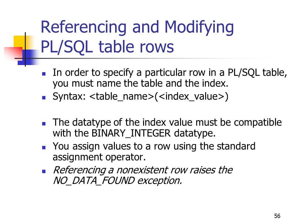 Referencing and Modifying PL/SQL table rows
