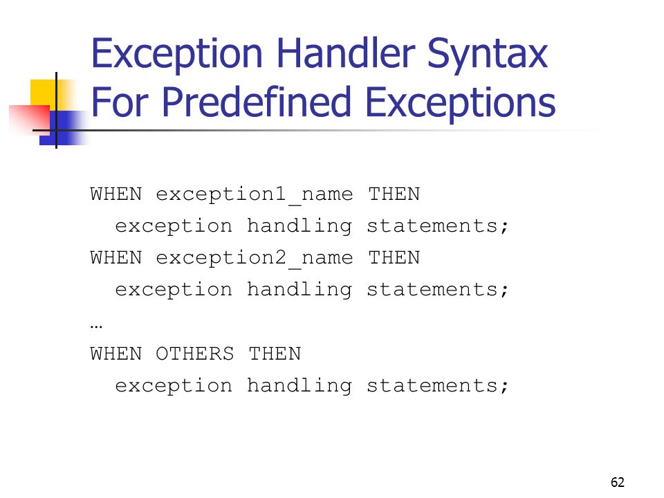 Exception Handler Syntax For Predefined Exceptions