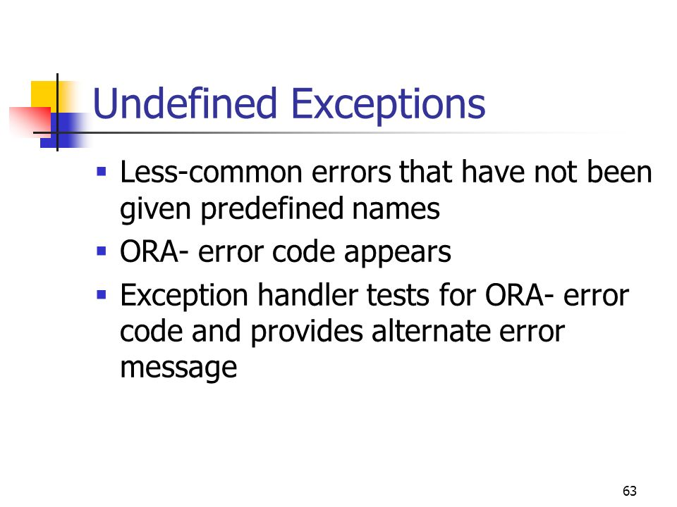Undefined Exceptions Less-common errors that have not been given predefined names. ORA- error code appears.