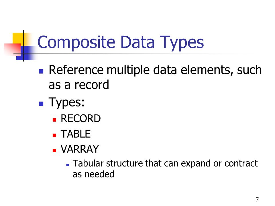 Composite Data Types Reference multiple data elements, such as a record. Types: RECORD. TABLE. VARRAY.