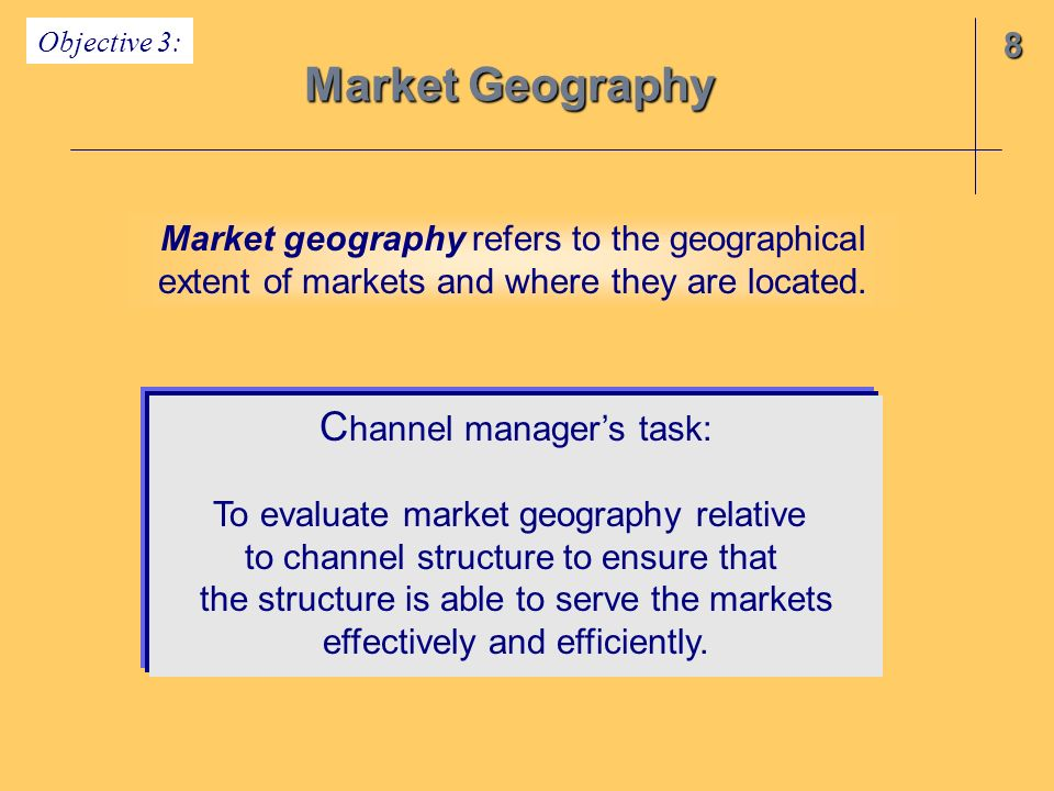 Market Geography Channel manager's task: 8
