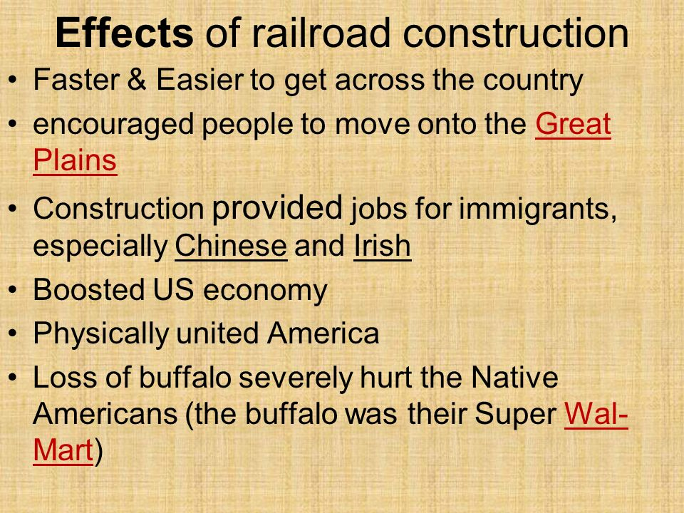 Effects of railroad construction