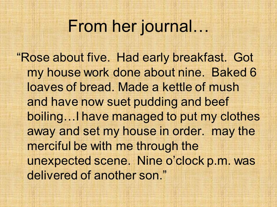 From her journal…