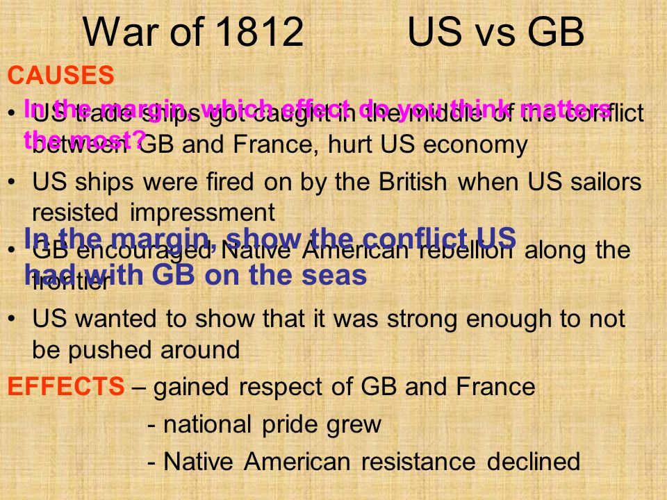 War of 1812 US vs GB CAUSES. US trade ships got caught in the middle of the conflict between GB and France, hurt US economy.