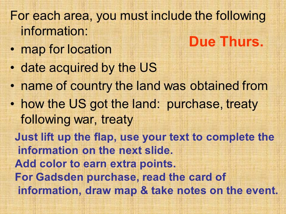 Due Thurs. For each area, you must include the following information: