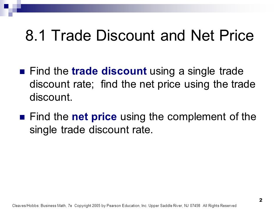 8.1 Trade Discount and Net Price