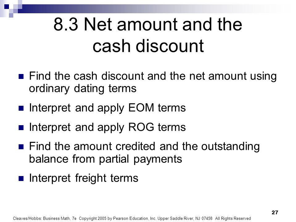 8.3 Net amount and the cash discount