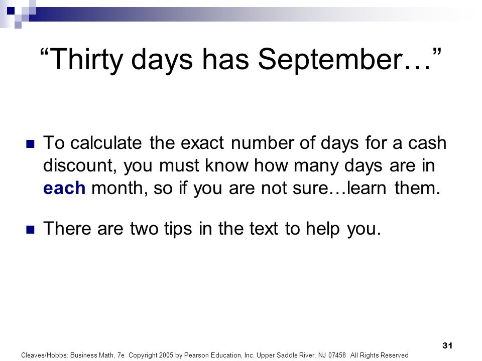 Thirty days has September…