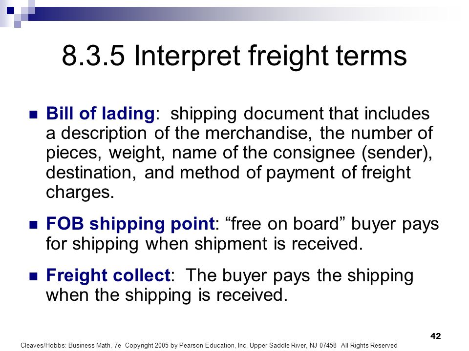 8.3.5 Interpret freight terms