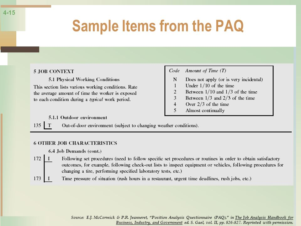 Sample Items from the PAQ