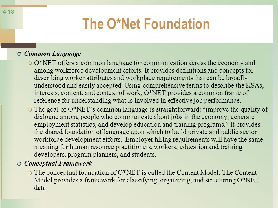 The O*Net Foundation Common Language