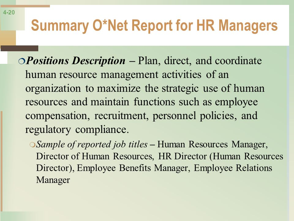 Summary O*Net Report for HR Managers