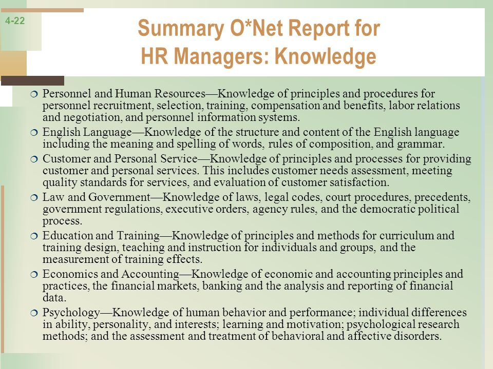 Summary O*Net Report for HR Managers: Knowledge
