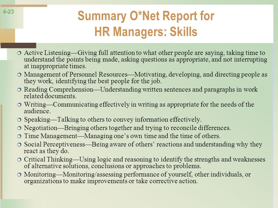 Summary O*Net Report for HR Managers: Skills