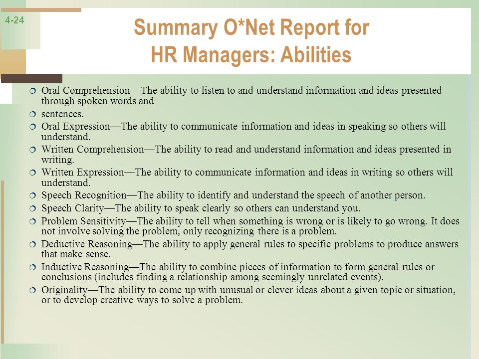 Summary O*Net Report for HR Managers: Abilities