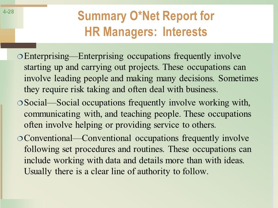 Summary O*Net Report for HR Managers: Interests