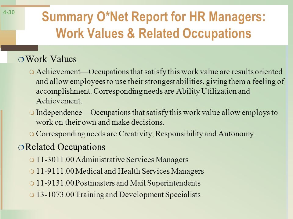 Summary O*Net Report for HR Managers: Work Values & Related Occupations