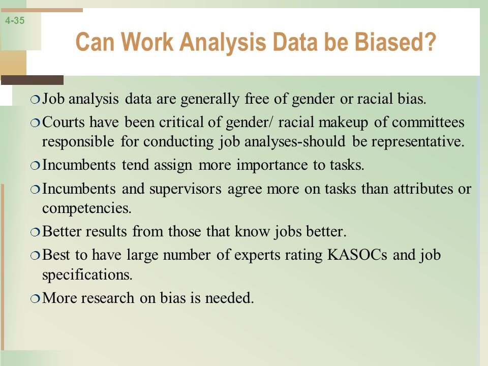 Can Work Analysis Data be Biased