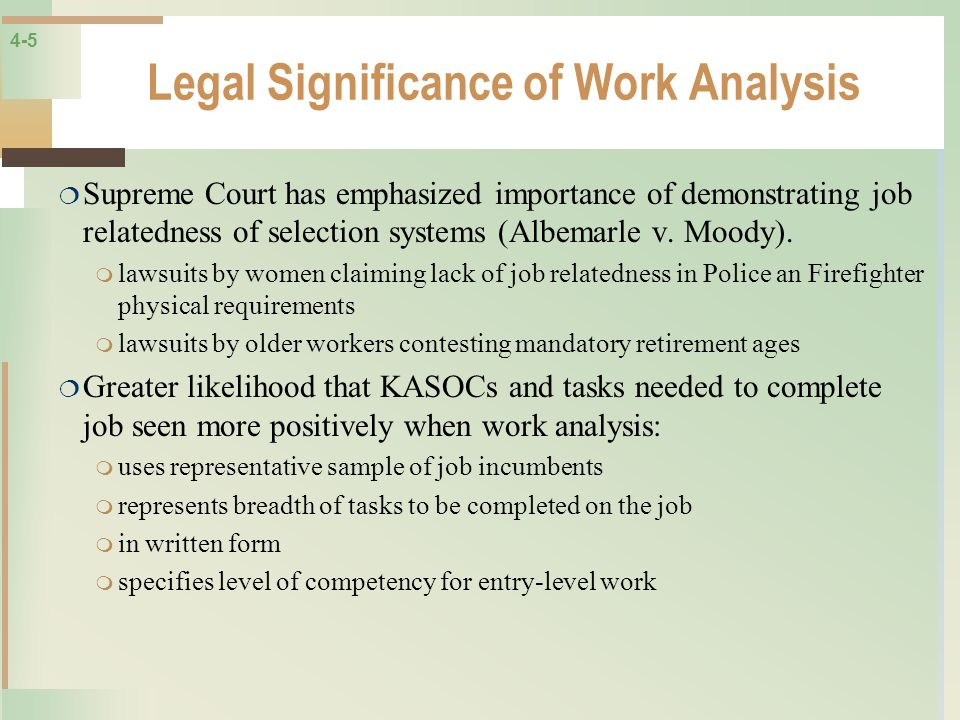 Legal Significance of Work Analysis