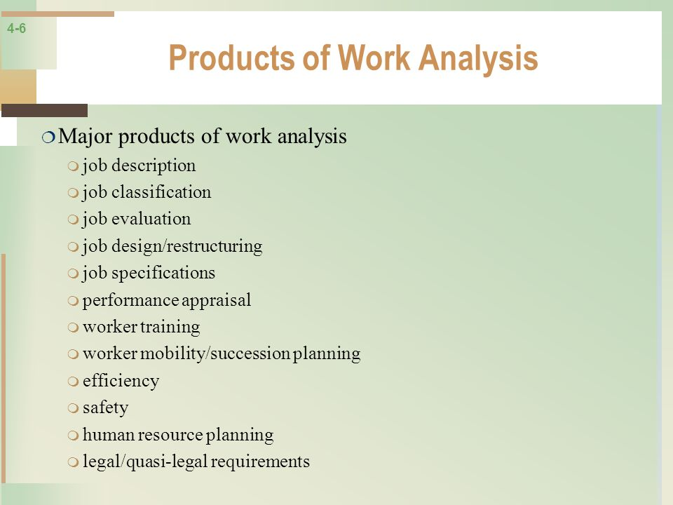 Products of Work Analysis