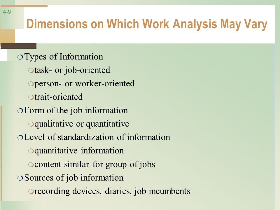 Dimensions on Which Work Analysis May Vary