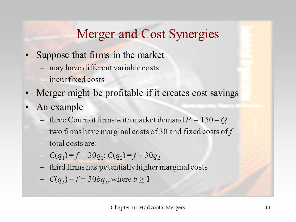 Merger and Cost Synergies