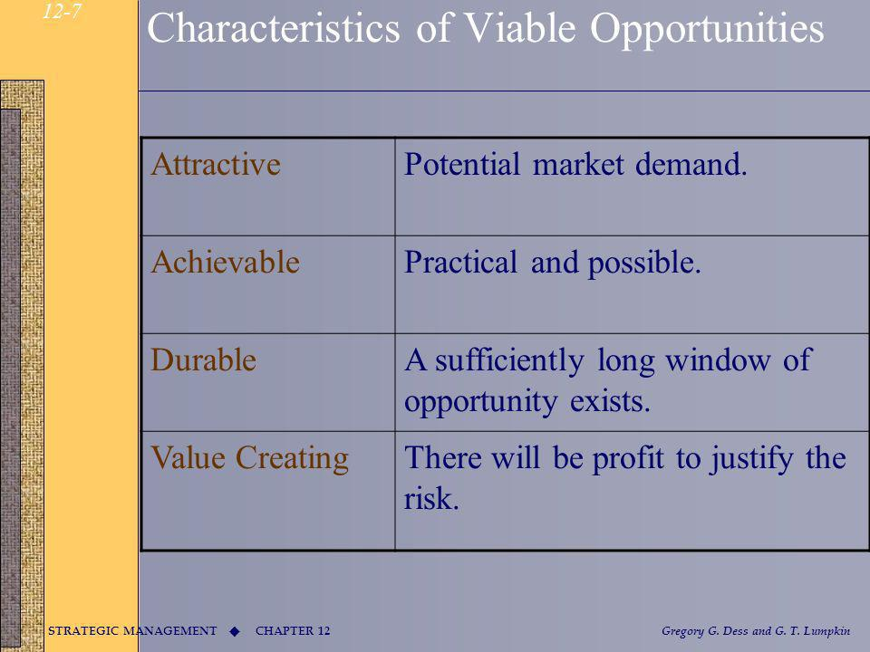 Characteristics of Viable Opportunities