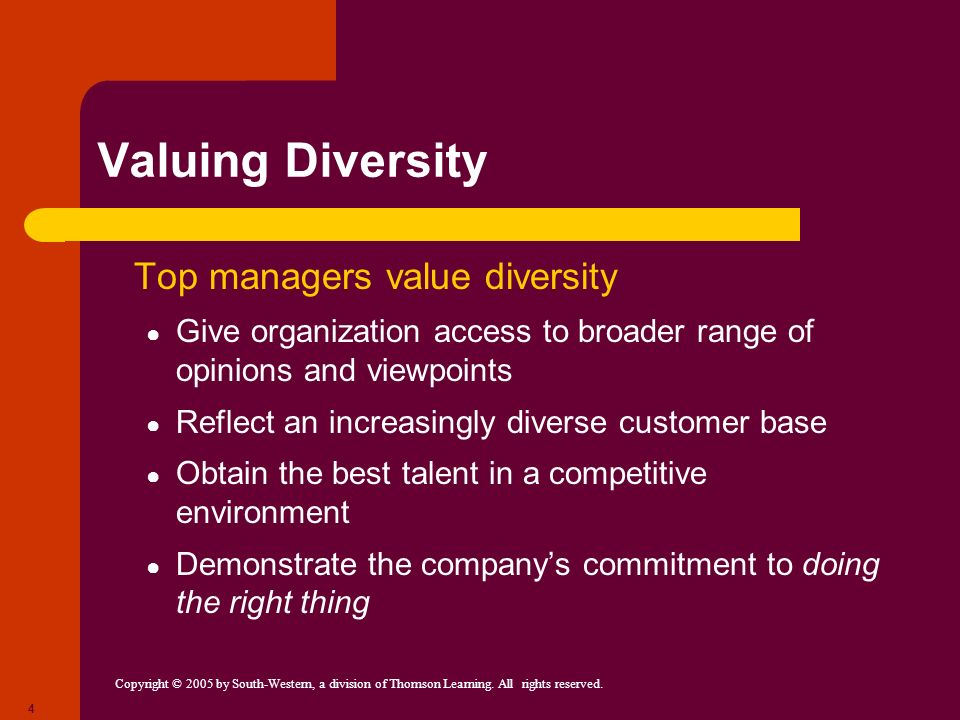 Valuing Diversity Top managers value diversity