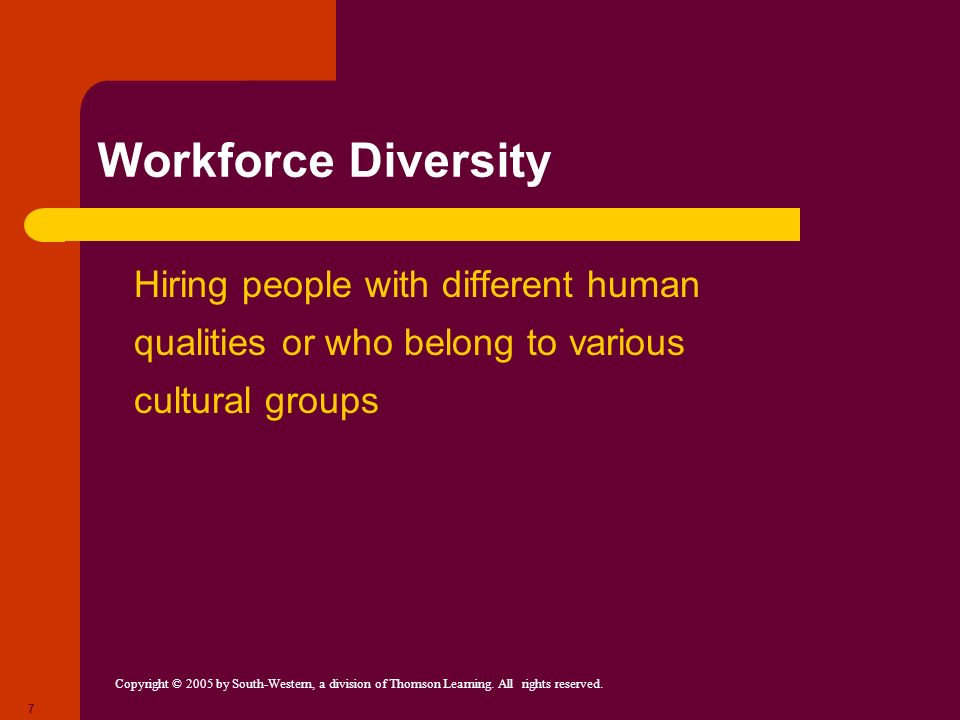 Workforce Diversity Hiring people with different human qualities or who belong to various cultural groups.