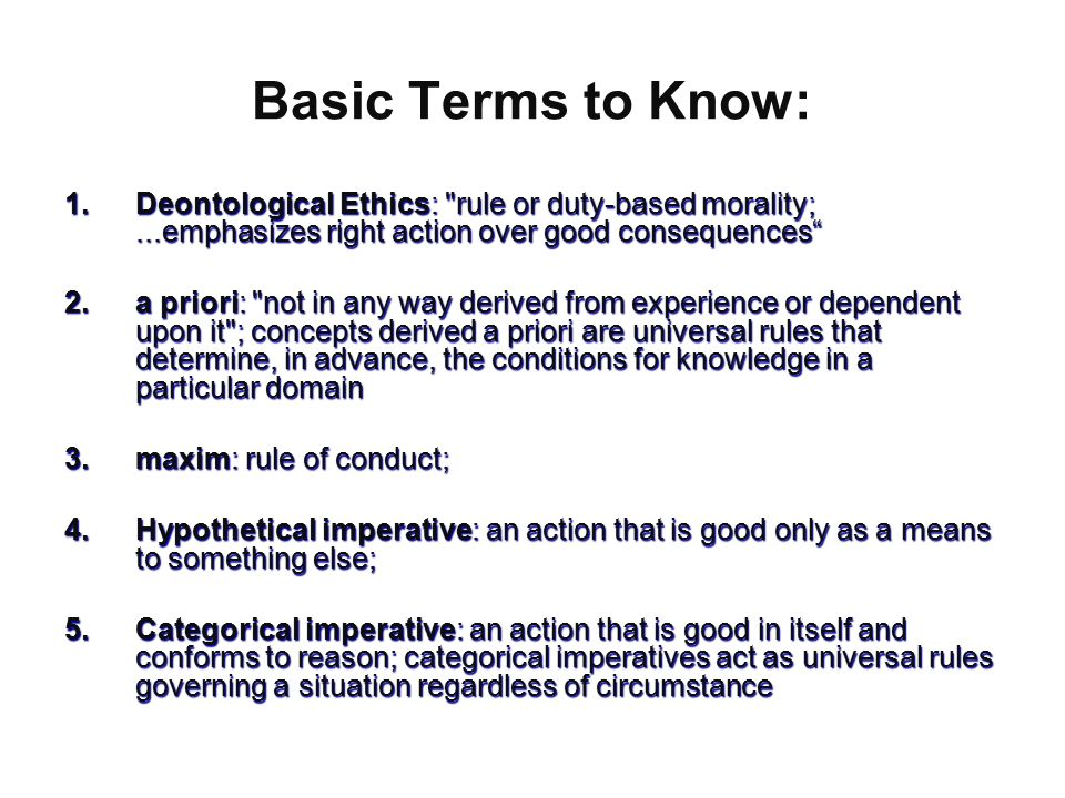 deontological ethics examples in nursing The word deontology derives from the greek words for duty (deon) and science (or study) of (logos)in contemporary moral philosophy, deontology is one of those kinds of normative theories regarding which choices are morally required, forbidden, or permitted.