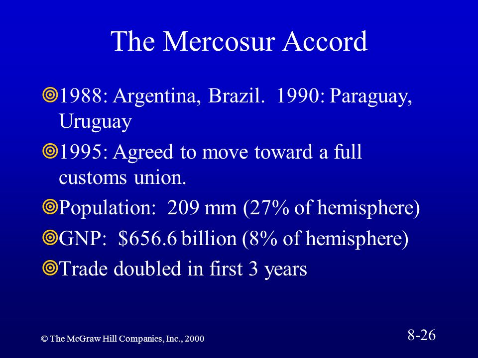 The Mercosur Accord 1988: Argentina, Brazil. 1990: Paraguay, Uruguay