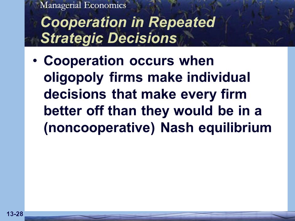 Cooperation in Repeated Strategic Decisions