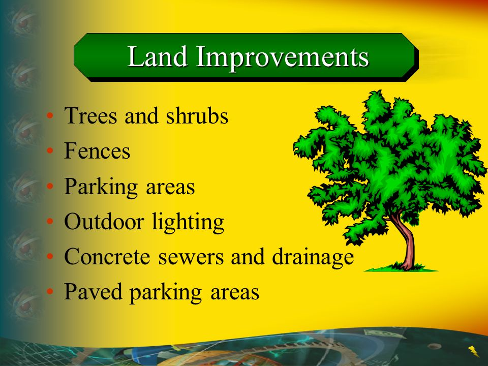 Land Improvements Trees and shrubs Fences Parking areas