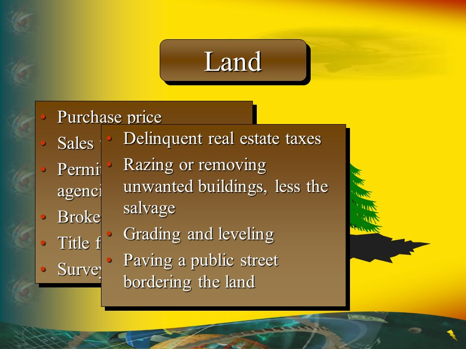 Land Purchase price Sales taxes Delinquent real estate taxes