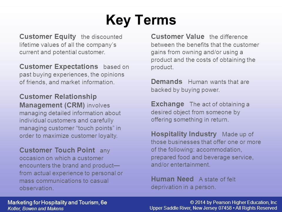 Key Terms Customer Equity the discounted lifetime values of all the company's current and potential customer.