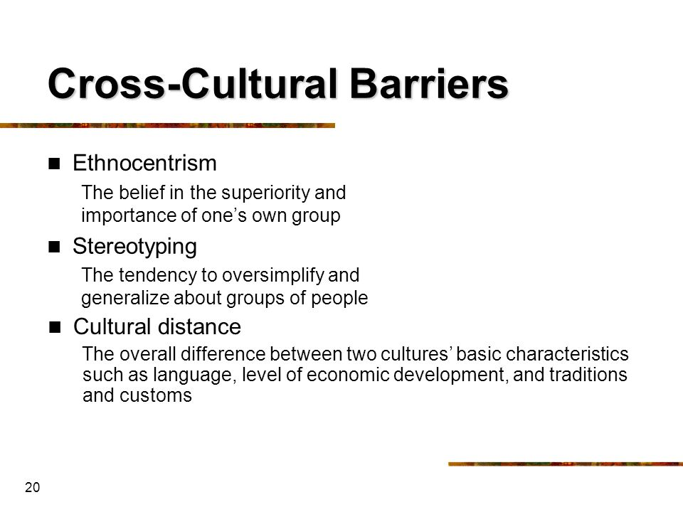 Cross-Cultural Barriers