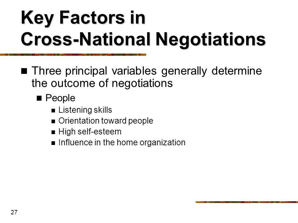 Key Factors in Cross-National Negotiations