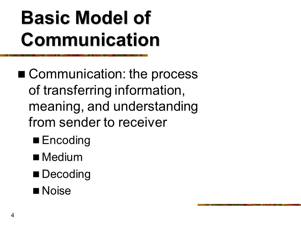 Basic Model of Communication
