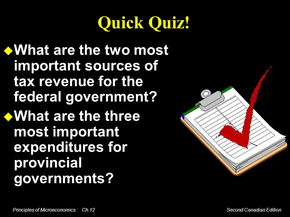 Quick Quiz! What are the two most important sources of tax revenue for the federal government