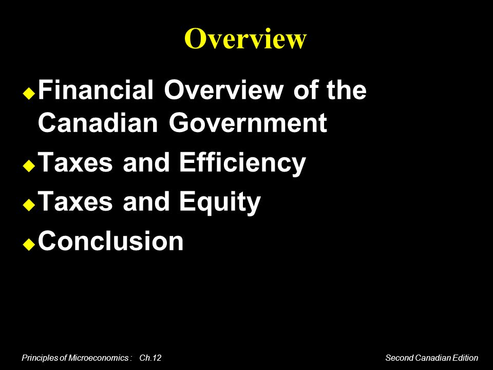 Overview Financial Overview of the Canadian Government