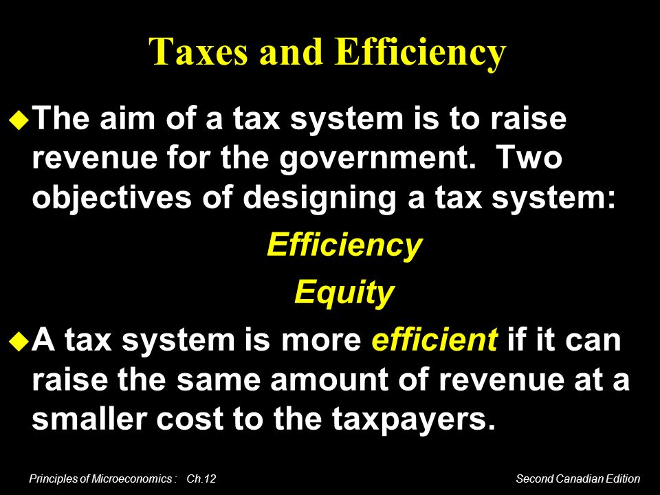 Taxes and Efficiency The aim of a tax system is to raise revenue for the government. Two objectives of designing a tax system: