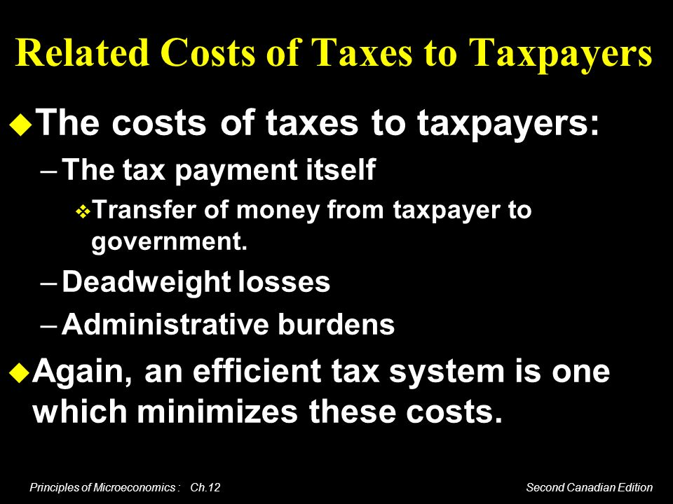 Related Costs of Taxes to Taxpayers