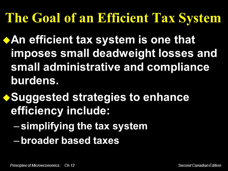 The Goal of an Efficient Tax System