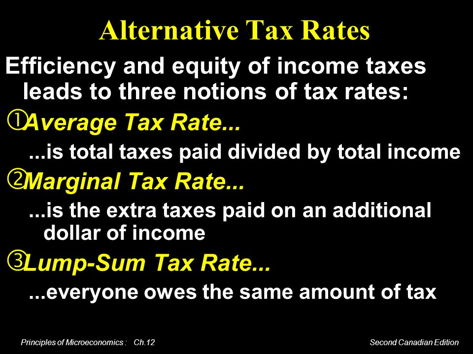 Alternative Tax Rates Efficiency and equity of income taxes leads to three notions of tax rates: Average Tax Rate...